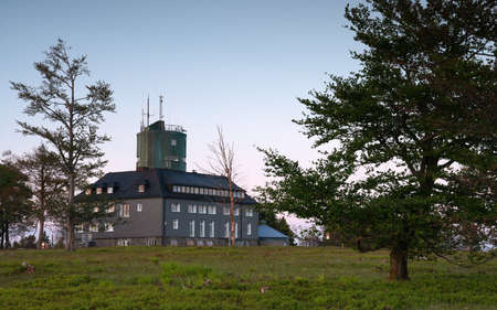 Panoramic image of the peak of the Kahler Asten at dusk, most famous mountain of Sauerland region in Germany Editorial