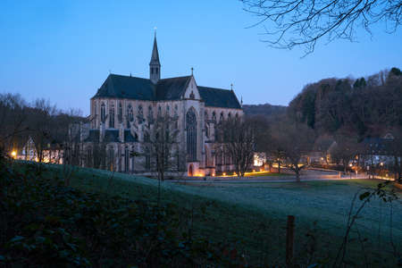 ODENTHAL, GERMANY - MARCH 27, 2020: Panoramic image of the Altenberg cathedral in morning light on March 27, 2020 in Germany