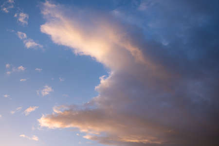 View to sky with cumulus clouds