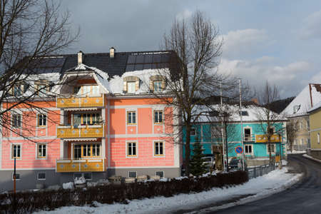 conspicuous: shining facades of apartment buildings in the municipality Vorderweissenbach - austria