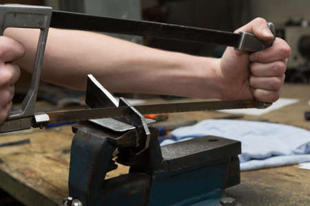 yourselfer: Hacksaw for metal processing in use