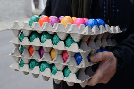 Person colored eggs for Easter