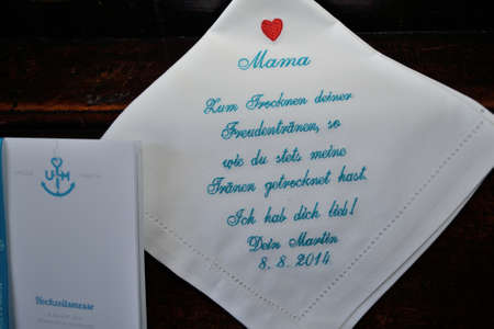 handkerchief: Handkerchief for tears of joy at the wedding