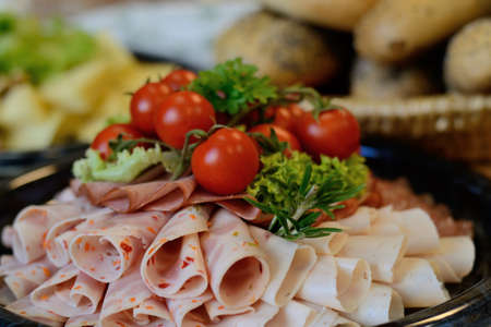 tasty prepared sausage plate cold buffet Stock Photo