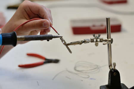 electrical parts: Person when soldering electrical parts