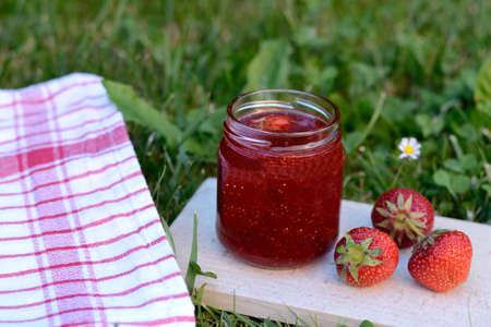 strawberry jam: delicious homemade strawberry jam Stock Photo