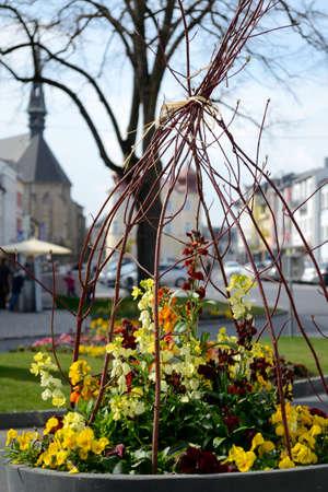floristics: ovingly designed floral decoration on the town square