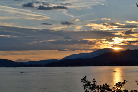 Evening mood at sunset on the Woerthersee in Carinthia - Austria