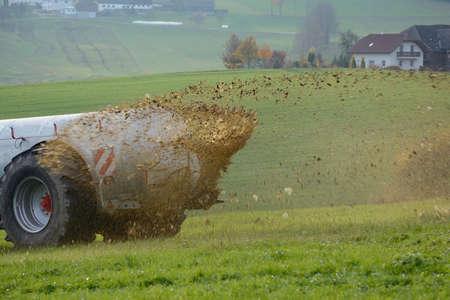 Manure is applied as fertilizer on grassland