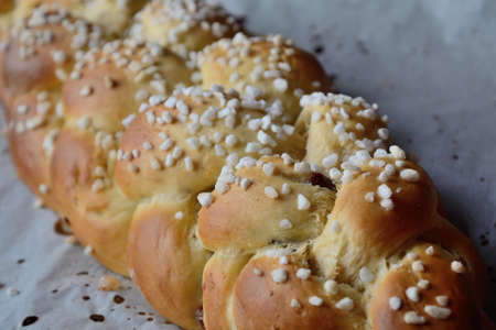 doughy: fresh brioche - sprinkled with sugar crystals Stock Photo