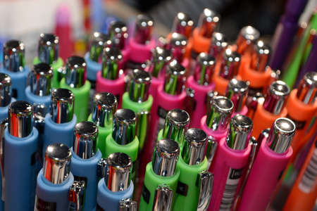 sorted: Pens of different colors sorted properly