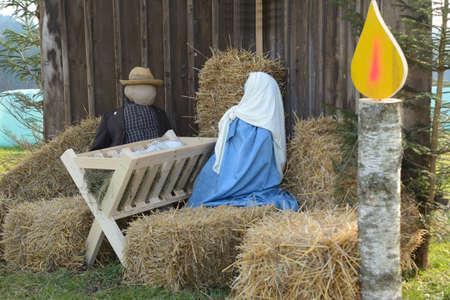 christmastide: large Nativity scene with life-size figures as custom of Christmas