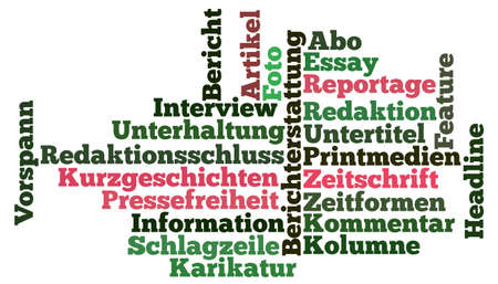 periodical: Tagcloud around print media Stock Photo