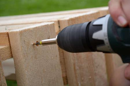 taladro: Carpintero con el taladro eléctrico tornillos Torx en madera Foto de archivo