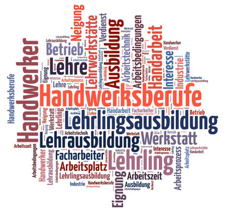 square tagcloud with terms related to vocational training Stock Photo