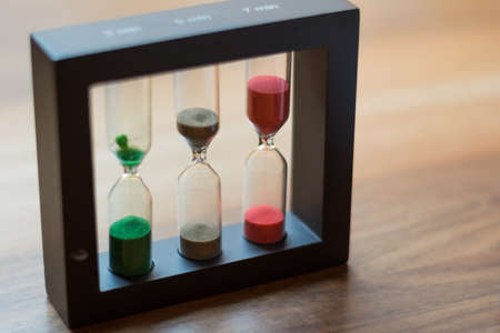 Hourglasses with different duration as tea clocks
