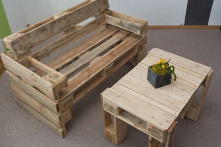 robust bench and table pallets - upcycling Stock Photo