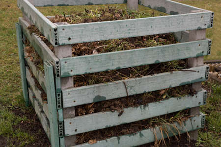 Garden and kitchen waste in a plastic composter