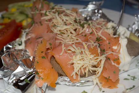 salmonidae: dished delicate salmon fillet in a rustic kind