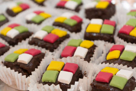 the quartet: fresh petit fours with colorful lining for selection