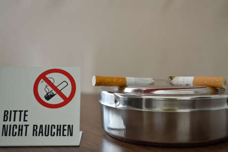 fag: Despite smoking cigarettes on ashtray