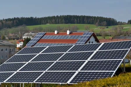 energy use: best use of photovoltaics and solar energy system at each house and on land Stock Photo