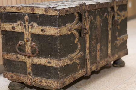 craftwork: old valuable chest, treasure chest as a decoration