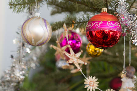 christmas decorations: glittering Christmas tree decorations - close-up Stock Photo