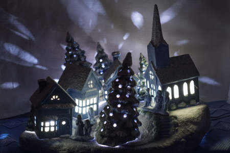 christmasy: lighted Christmas village made of ceramic