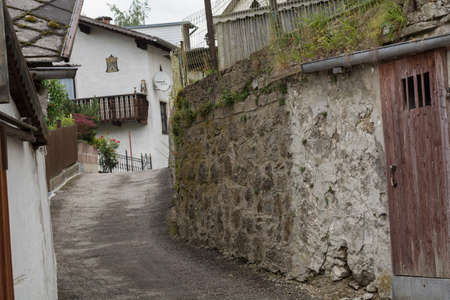 narrowly: Driveway is a narrow lane that acts cramped for motorists Stock Photo