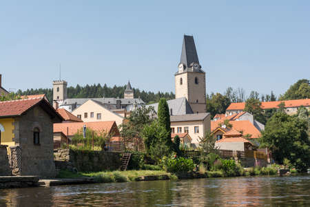 cz: City Rosenberg, St. Marys Church and castle in the background - Czech Republic