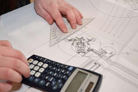 dibujo tecnico: Persona calculado y medido dibujo técnico - primer plano