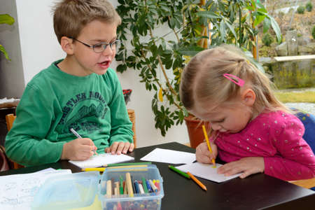 Children when drawing Stock Photo
