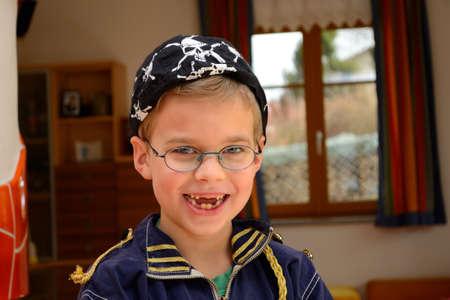 boyhood: dressed little boy as pirates Stock Photo