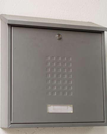 lockbox: simple metal postbox, color silver Stock Photo