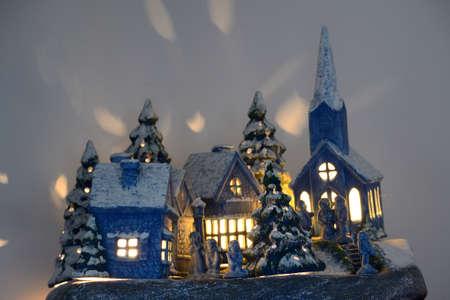 christmas village: shining Christmas village made of ceramic