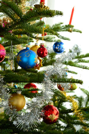 decorated christmas tree: colorful decorated Christmas tree - detail