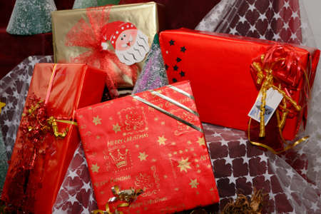 christmasy: Christmas presents in beautiful wrapping paper Stock Photo