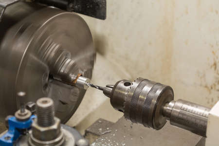 artisanry: Lathe drilled hole - close-up Stock Photo
