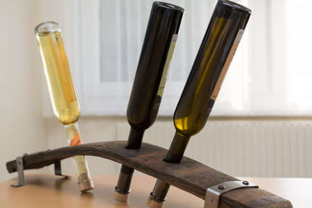 stave: original liquor bottles stand from a stave