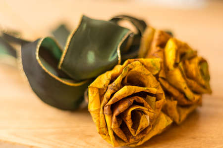bereavement: From tree leaves in autumn prepared Rose Stock Photo