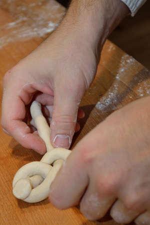 pretzel stick: Baker formed hand luggage - close-up