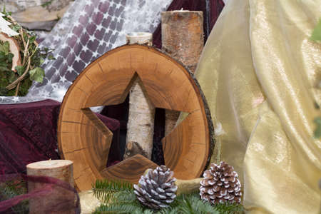 raw material: Christmas decoration - star made of natural wood