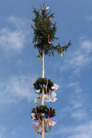 festively: Maypole festively decorated with childrens drawings and bands