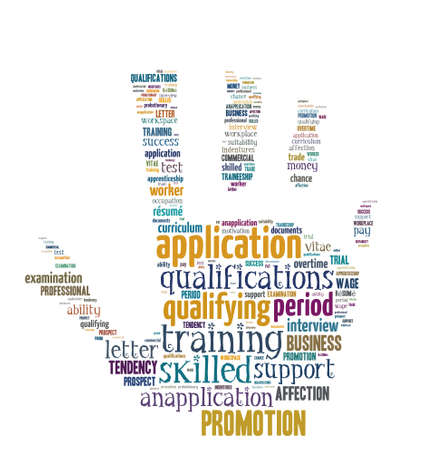 suitability: Isolated Word Cloud - concepts about application and career Stock Photo