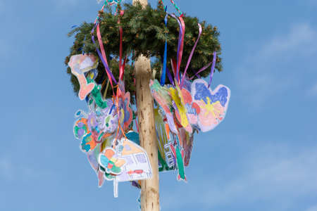 maypole: Decorated with childrens drawings maypole - close-up