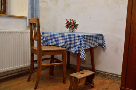 footstool: historic farmhouse rooms with wooden furniture