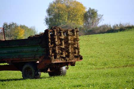 manure: Manure spreader on field road