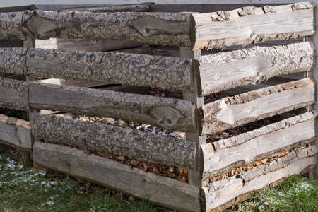 garden waste: homemade rustic composter for garden and kitchen waste Stock Photo