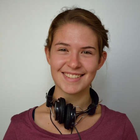 teeny: Happy teenager with headphones - copy-space and released